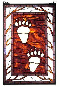 Bear Tracks Stained Glass Window