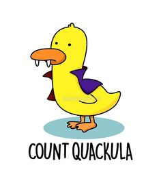 "Posted to FB ""Count Quackula Halloween Pun"" by punnybone Funny Food Puns, Punny Puns, Cute Puns, Cute Memes, Funny Memes, Hilarious, Halloween Puns, Halloween Drawings, Halloween Stickers"