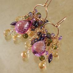 Pink Quartz Citrine Amethyst Iolite Vesuvianite Tassel Earrings