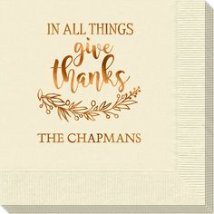 Give Thanks Napkins