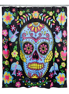 Day of the Dead Darling Shower Curtain by Too Fast http://www.modandretro.com/day-of-the-dead-darling-shower-curtain-by-too-fast/