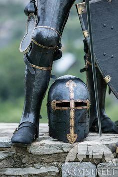 """""""The Wayward Knight"""" Blackened Sugarloaf Helmet Knightly XIV century helmet Medieval Helmets, Medieval Armor, Medieval Fantasy, Medieval Knight Costume, Ancient Armor, Knights Helmet, Armor Clothing, Sword Fight, Samurai"""
