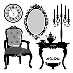 objetos antigos do interiores — Ilustração de Stock #8373714