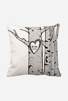 Choose your Initials and Date Personalized Cotton and Burlap Pillow