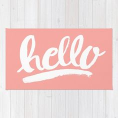 Coral and white hello hand lettering rug / cute rug by AjcPaperie