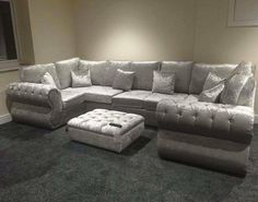 Rio 4 Seater Corner Sofa With Chesterfield Arms In Stallion Grey Fabric 599 99 Sofas And Soft Furnishings Pinterest