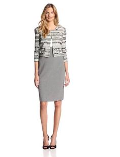 Danny & Nicole Women's Printed Short Sleeve Jacket Dress, Grey/Multi, 10