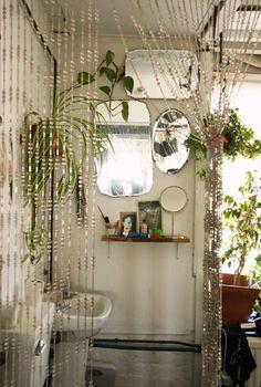 boho bathroom-beaded curtain