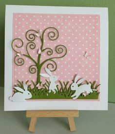 Handmade Easter Bunnies Card, Easter Card, Birthday Card, Greeting Card