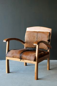 Goathide & Teak Armchair - 3H