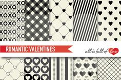 Valentines Kit with Black and Ivory Digital Backgrounds :: Patterns with hearts, gingham, stripes & more. You get 10 High Quality Sheets :: JPG files in 12x12 inches size with 300 dpi jpg, perfect for printing or digital use. These are great for scrapbooking, crafts, party decor, DIY projects, blogs, stationery & more. All patterns are original and copyrighted by all is full of love
