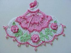 New Hand Crocheted Beaded Pinks Crinoline Lady Doily in Collectibles, Linens & Textiles Lace, Crochet & Doilies Crochet Dollies, Crochet Doily Patterns, Crochet Girls, Thread Crochet, Love Crochet, Vintage Crochet, Crochet Designs, Crochet Crafts, Crochet Flowers
