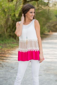 Fun And Frills Tank, Fuchsia || The name perfectly describes this tank! It's so frilly and that crochet is flawlessly placed! You are going to have to much fun flaunting this precious spring tank!