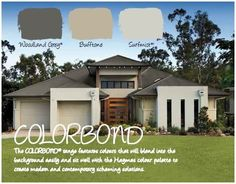 Haymes Paint Exterior Colour Scheme: Colourbond Woodland Grey is the roof, Haymes Bufftone is the darker colour and Colorbond Surfmist the lighter colour used House Exterior Color Schemes, Grey Exterior, Modern Farmhouse Exterior, House Paint Exterior, Exterior Paint Colors, Exterior Design, Paint Colours, Exterior Homes, Wall Colors