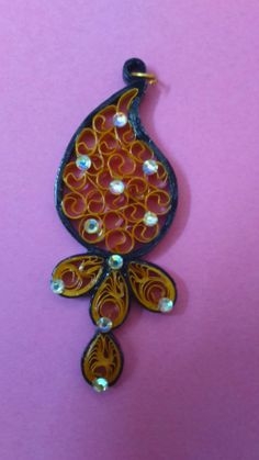 quilled black and golden yellow beehive pendant