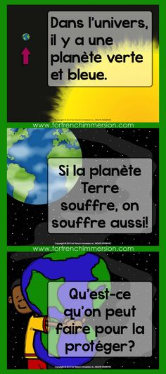 French Earth Day - Le jour de la Terre - For French Immersion French Days, Core French, French Teaching Resources, Teaching French, Classroom Resources, Classroom Ideas, French Lessons, Spanish Lessons, Science Lessons