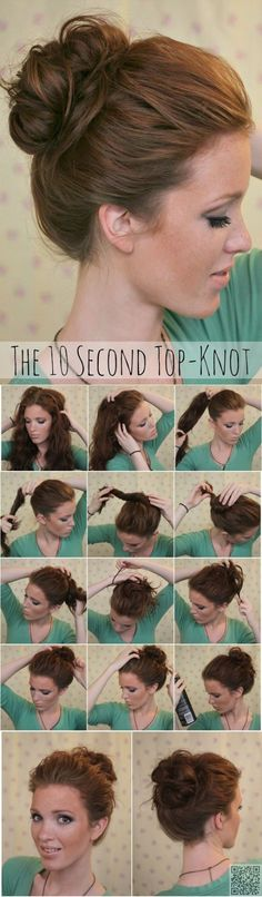 15. #Knotted Bun - 17 Gorgeous #Hairstyles for Lazy Girls ... → Hair #Messy
