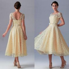 Vintage Lace Mother of the Bride Dresses 2015 New Style Crew Neckline A-Line Tea-length Short Sleeve Yellow Mother of Bride Wedding Dresses, $115.19 | DHgate.com