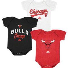 Chicago Bulls Adidas NBA Infant 3 Pack Creeper Set (Red) Adidas Nba ead5e788809