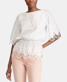 1ba0f6ea03f630 Lauren Ralph Lauren Petite Lace Cotton Top