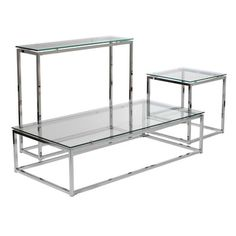 Euro Style Sandor Console Table With Clear Tempered Glass