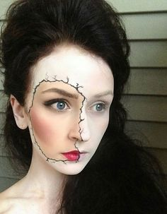 Hard core Halloween fanatics will LOVE this cracked porcelain doll makeup.