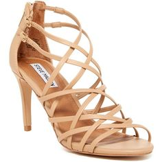 Steve Madden Fairyy Strappy Sandal ($50) ❤ liked on Polyvore featuring shoes, sandals, natural, multi-strap sandals, open toe sandals, ankle strap high heel sandals, ankle strap shoes and strap sandals