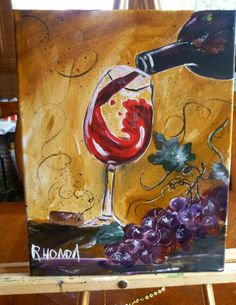11x14 original acrylic painting pouring by AffordableARTbyRonda