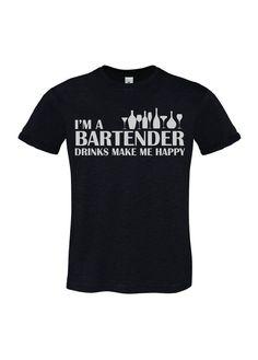 T-SHIRT UOMO HAPPINESS TSHIRT DIVERTENTE I'M A BARTENDER DRINKS BARMAN