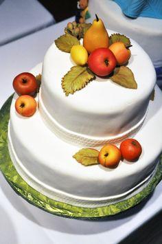 A cake with seasonal marzipan fruit.