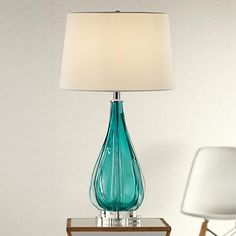 High Quality Claudette Turquoise Glass Table Lamp