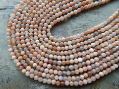4mm Natural Sunstone Polished Round Semi-Precious Beads, 15 Inch Strand (IND2C84)