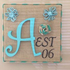 Burlap frame with last name initial and year of marriage