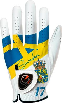Make your golfing buddies jealous with this custom fit mens flag Sweden golf glove by Easyglove!