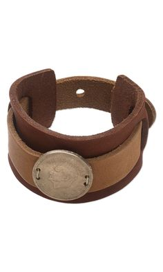 Cuff Bracelet with Leather Bracelet and Metal Coin