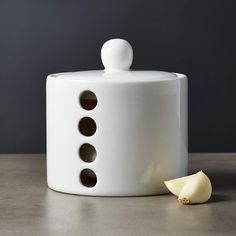 Breathe White Garlic Keeper + Reviews | CB2 Food Storage Boxes, Tool Storage, Storage Containers, Dustpans And Brushes, White Dishes, Little Kitchen, Serving Utensils, Spice Jars, Fine Art