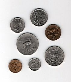 South African coins from back in the day...the coins of my childhood. You could buy Chappies Bubblegum with the half-penny piece