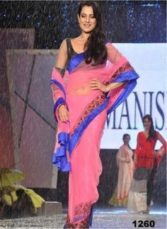 Amisha Patel Looks Hot Bomb In Pink Netted Saree by Vendorvilla.com