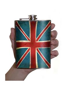 Union Jack British Flag flask  Stainless Steel  by trixieandmilo (Accessories, flask, British, flag, red white blue, whiskey, whisky, portland, punk, mens gift, England, Queen)
