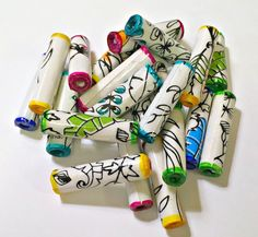 Foliage Beads Multi-Colored Paper Beads by MargabeadaGirl on Etsy