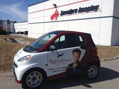 Ta Da!  One of 2 Smart Car wraps completed for Paul Lafrance Design. 3/4 wrap completed in burgundy with great logo graphic overlays.  www.SpeedproDurham.ca