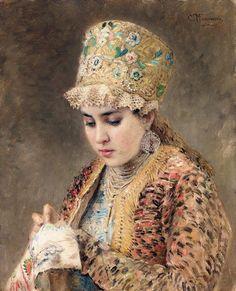 Russian beauty, Konstantin Makovsky painting 3