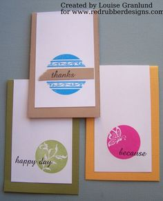 CAS All Occasion Cards ~*~ Circle & Sentiments rubber stamp set ~*~ from Red Rubber Designs www.RedRubberDesigns.com