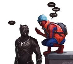 Spider-Man and Black Panther Marvel Avengers, Marvel Fan Art, Marvel Funny, Marvel Memes, Marvel Dc Comics, Black Panther Marvel, Black Panther Art, Marvel Universe, Loki