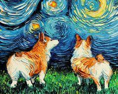 Corgi Dog, Corgi Pembroke, Vincent Van Gogh, Van Gogh Pinturas, Starry Night Art, Ouvrages D'art, West Highland Terrier, Dog Paintings, Miniature Paintings