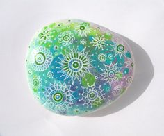 Hand Painted Stone Floral Mandala Patterns On Multi Coloured Watercolour Background, Original Hand Painted Rock Art, Pastel Colours, OOAK