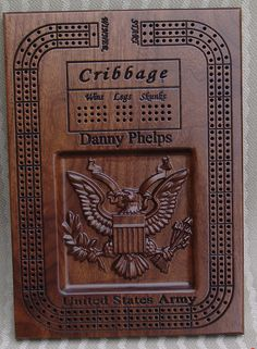 Personalized cribbage boards, custom cribbage boards and Unique cribbage boards. Please take a look at our entire shop for great gift ideas. https://www.etsy.com/shop/UniqueGiftsOfWood?ref=si_shop The style 5 Army Insignia cribbage boards make excellent gifts. A gift that can be customized and an Heirloom quality gift for the Army member of the family. A gift of a beautiful 13 by 9.25 rectangular, 3 continuous track, Army emblem, cribbage board will be appreciated ...