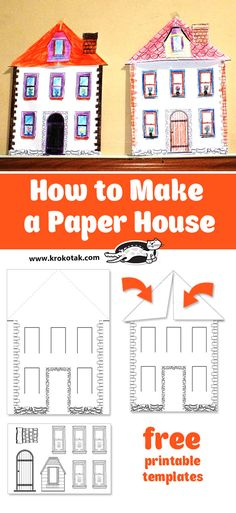 children activities, more than 2000 coloring pages Printable Crafts, Templates Printable Free, Art For Kids, Crafts For Kids, African House, House Template, Paper Artwork, Craft Club, Paper Houses