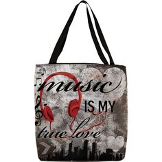 Thumbprintz 'Music is My True Love' Graphic Printed Tote ($23) ❤ liked on Polyvore featuring bags, handbags, tote bags, white handbags, white tote, white tote bag and white purse