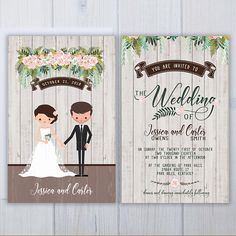 Illustrated Wedding Invitations  Caricature Invite Suite